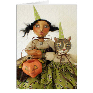 Party Girl & Cat Halloween Card