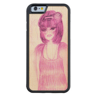 Party Girl Flapper in Hot Pink Carved Maple iPhone 6 Bumper Case