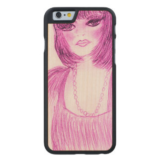 Party Girl Flapper in Hot Pink Carved Maple iPhone 6 Case