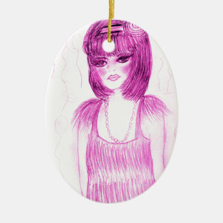 Party Girl Flapper in Hot Pink Ceramic Ornament