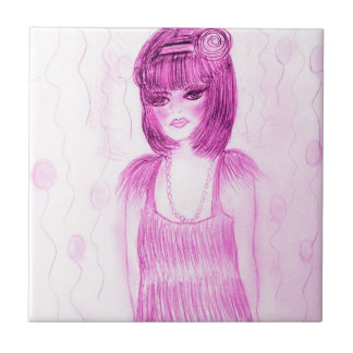 Party Girl Flapper in Hot Pink Tiles
