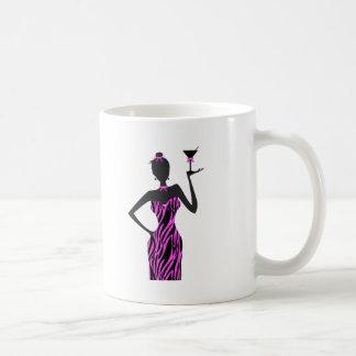 Party Girl Martini Zebra Pink Classic White Coffee Mug
