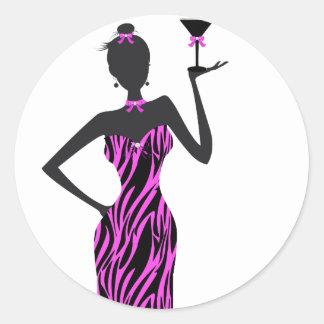 Party Girl Martini Zebra Pink Round Sticker