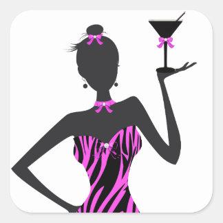 Party Girl Martini Zebra Pink Square Sticker