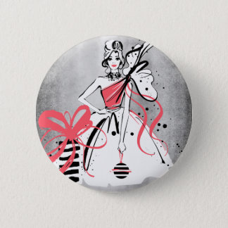 party girl on silver background 2 inch round button