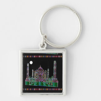 Party GIVEAWAY RETURN GIFTS: Taj Mahal Agra India Silver-Colored Square Keychain