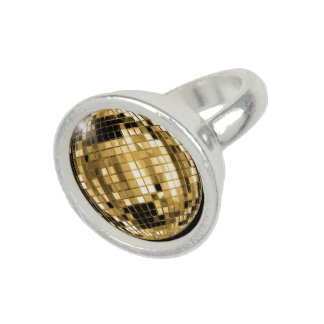 Party Gold Disco Ball Ring