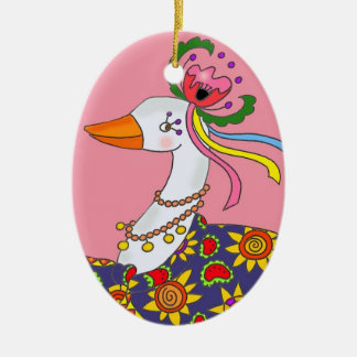 Party Goose Ukrainian Folk Art Ceramic Ornament
