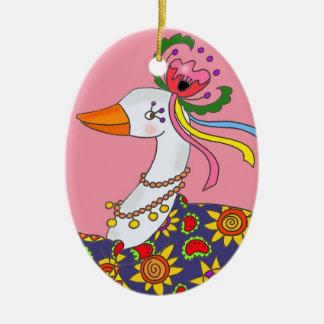 Party Goose Ukrainian Folk Art Ceramic Oval Ornament