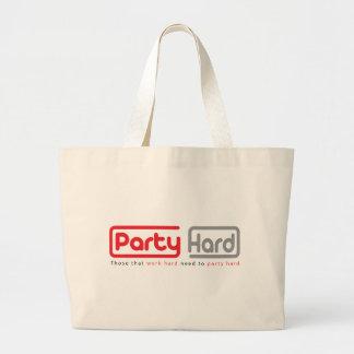 party hard design large tote bag