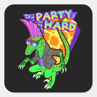 Party Hard Dinosaur Raptor 3 Tanzen Square Sticker