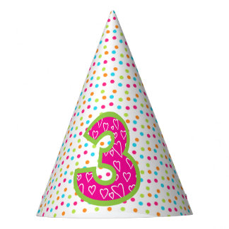 Party Hat/3rd Birthday with Polka Dots Party Hat