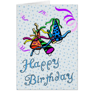 Party Hat and Streamers Birthday Card