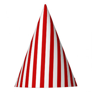 Party Hat with white and red stripes