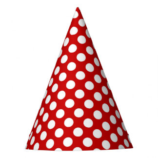 Party Hat with white polka dots on red