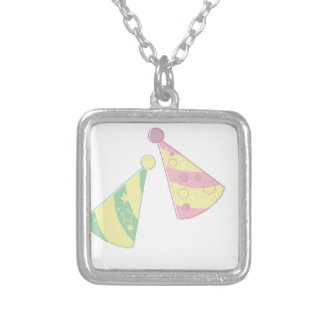 Party Hats Silver Plated Necklace