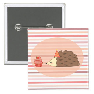 Party Hedgehog and Cupcake Pinback Button