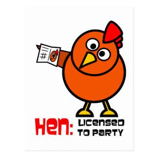 Party Hen White Postcard