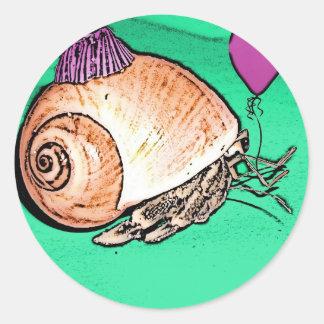 Party Hermit Crab Design Round Sticker