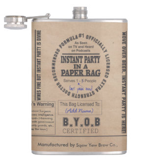 Party In A Paper Bag Customizable Hip Flask