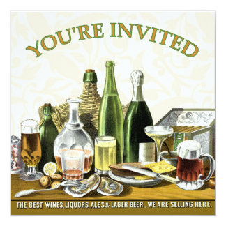 Party Invitation Beer Champagne, Oysters