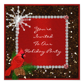 """Party Invitation with CRYSTAL SNOWFLAKE 5.25"""" Square Invitation Card"""