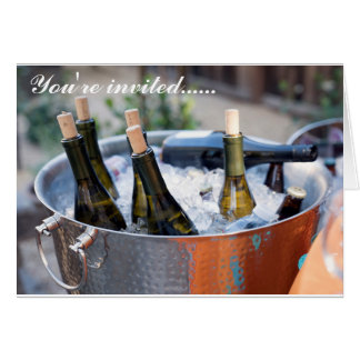 Party Invitation with wine bottles