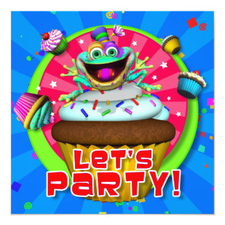 "Party Invite- ""Let's Party!"" with Fribbets Card"