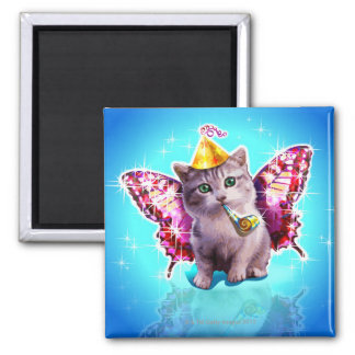Party Kitten Square Magnet