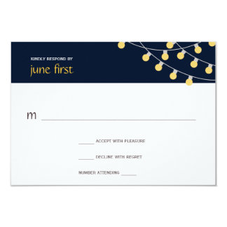 Party Lights Wedding Response in Navy Card