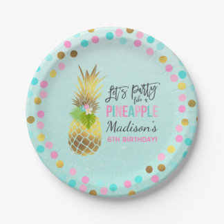 "Party Like A Pineapple Paper Plate 7"" Pink Gold"