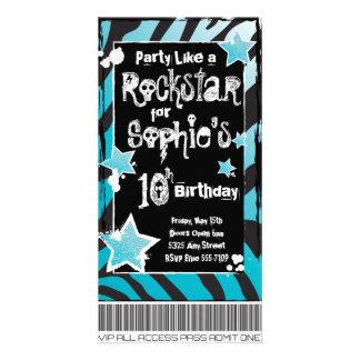 Party Like a Rockstar- Blue Invitation Template Photo Card