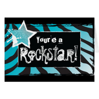 Party Like a Rockstar- Blue Thank You Card