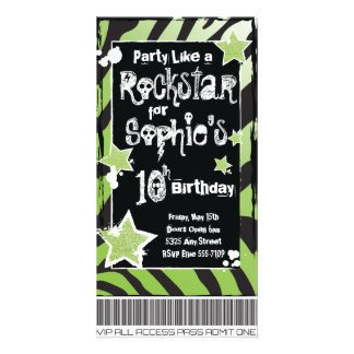 Party Like a Rockstar- Green Invitation Template Picture Card