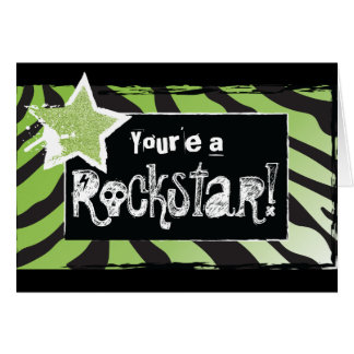 Party Like a Rockstar- Green Thank You Card