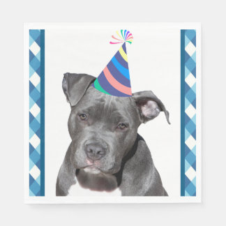 Party Like An Animal Black Dog With Birthday Hat Paper Napkin
