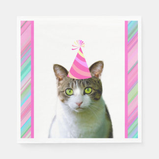 Party Like an Animal Cat With Party Hat Birthday Napkin