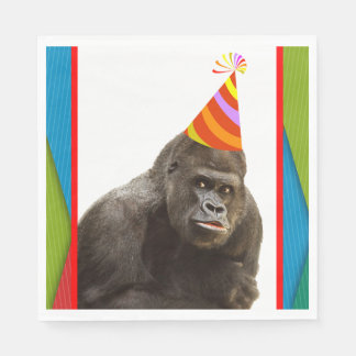 Party Like An Animal Gorilla With Hat Birthday Paper Napkin