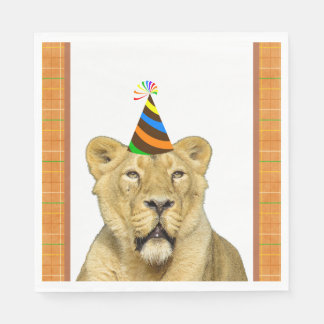 Party Like An Animal Lion With Hat Birthday Paper Napkin