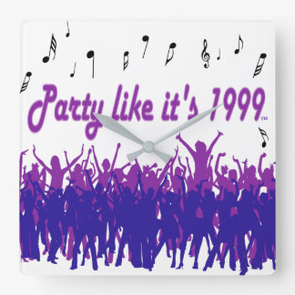 Party Like It's 1999® - Clock - Des 14 Purple Peop
