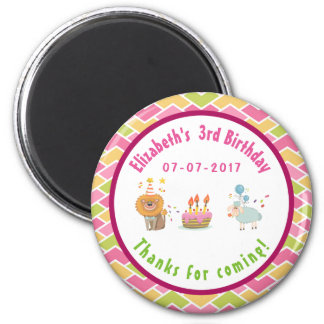 Party Lion and Sheep with Balloons Birthday Thanks 2 Inch Round Magnet