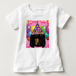 Party Long Hair Black Doxie Baby Romper