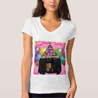 Party Long Hair Black Doxie T-Shirt