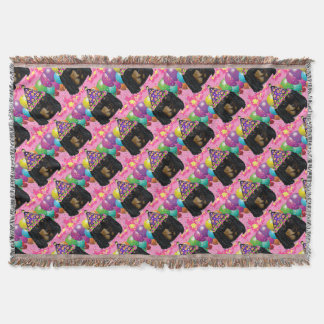 Party Long Hair Black Doxie Throw Blanket