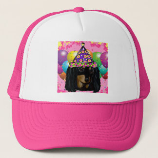 Party Long Hair Black Doxie Trucker Hat