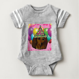 Party  Long Haired Red Doxie Baby Bodysuit