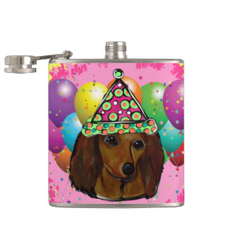 Party  Long Haired Red Doxie Hip Flask