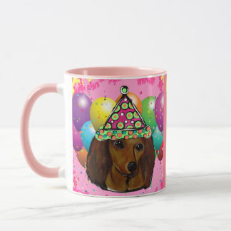 Party  Long Haired Red Doxie Mug