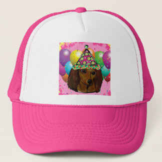 Party  Long Haired Red Doxie Trucker Hat