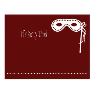 Party Mask Invites Postcard